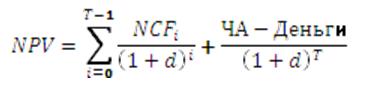 учет остаточной стоимости проекта. В этом случае формула NPV принимает вид
